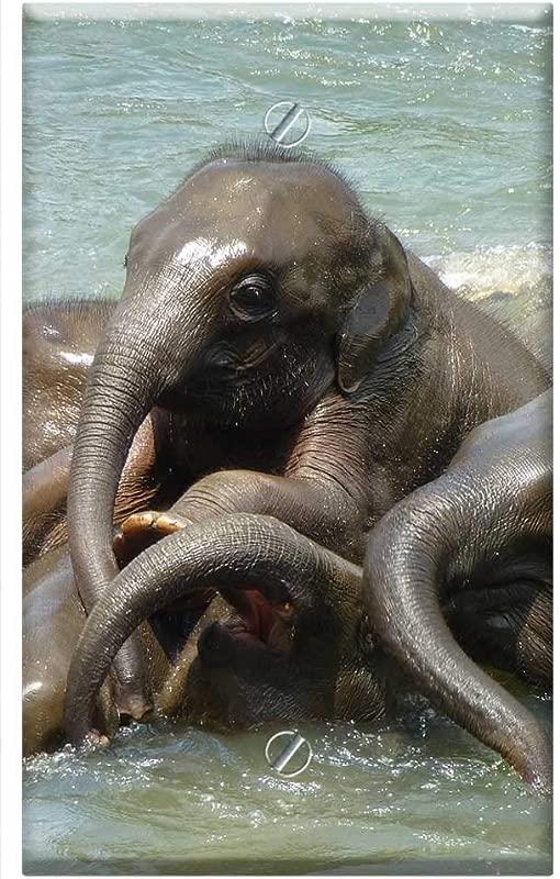 Single Gang Blank Wall Plate Cover Baby Elephant Elephant Elephant Family