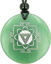 Kali Yantra Amulet Green Quartz Magic Pendant Necklace