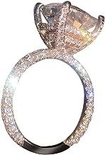 Haluoo_Jewelry Diamond Ring,Haluoo Rose Gold Openwork Cubic Zirconia Rhinestones Circle Ring Luxury Large Diamond Promise Ring Wedding Engagement Ring Anniversary Ring for Women Girls