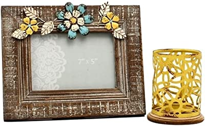 Western Moments Home Décor Candle Holder Photo Frame Gray Yellow 94017
