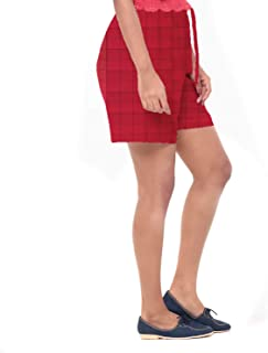 EASY 2 WEAR ® Women Red Checks Cotton Shorts (XS to 4XL)