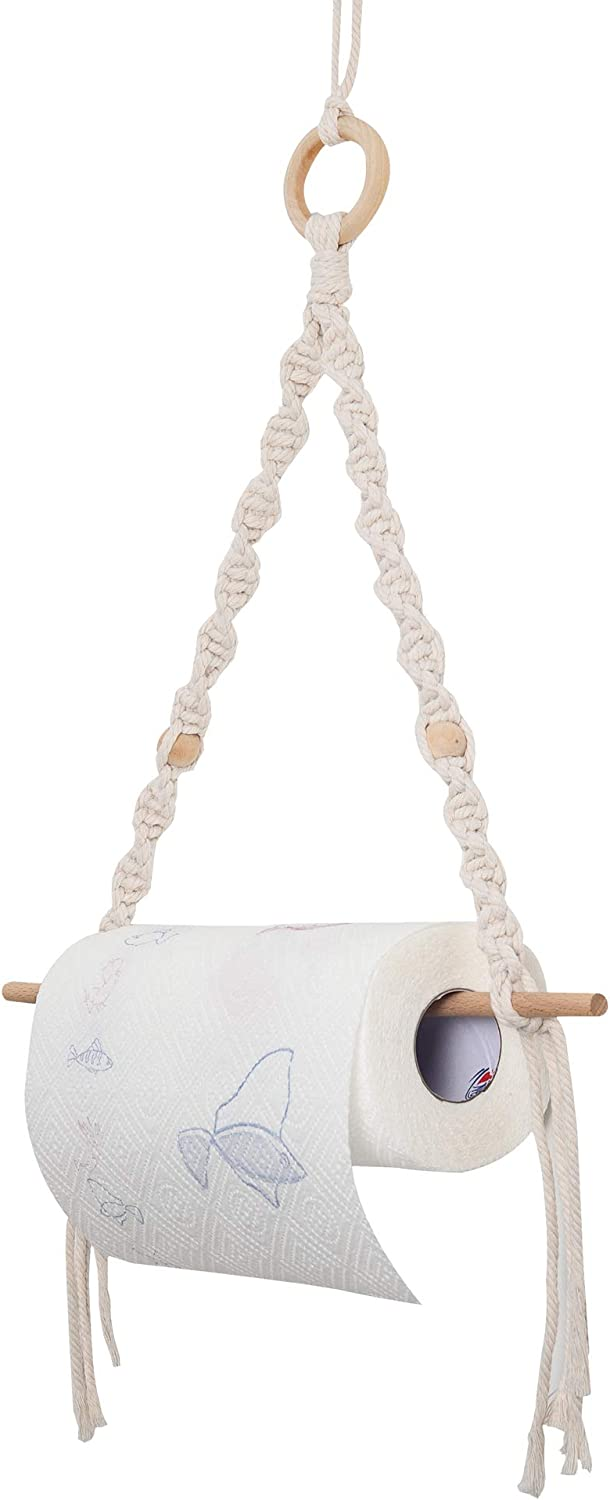 Eiyye Nature Wooden Hand-Made Max 73% OFF Cotton Boho Rope Holde Columbus Mall Paper Towel