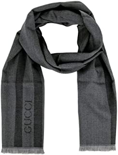 Gucci Unisex Wool Ombre Grey Embroidered Logo Striped Scarf 544628 1163