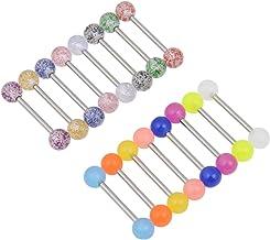 Kjiasiw 16PCS Flexible Glitter Acrylic Tongue Ring Nipple Ring 14G
