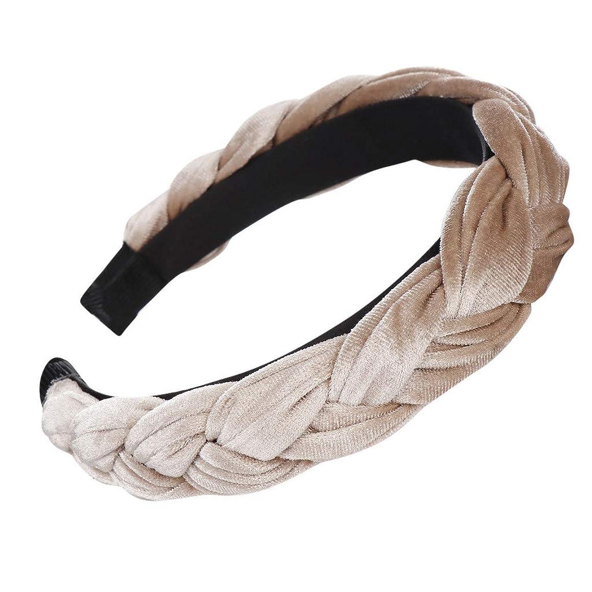 HAPIGOOD Women's Velvet Braid Headband Fashion Stitching Color Bow Knot Print Simple Sweet Hair Accessories (Khaki)