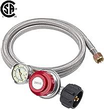 GASLAND Propane Regulator, 8 Ft Stainless Steel 0-20 PSI Adjustable Propane Regulator Hose with Gauge, QCC1 Type1 Propane Gas Regulator Grill Connectors