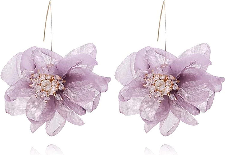 Charm Silk Yarn Lace Mesh Chiffon Cloth Flower Hoop Earrings Big Flowers Wedding Party Earring Jewelry Handmade Boho Dangel Earrings