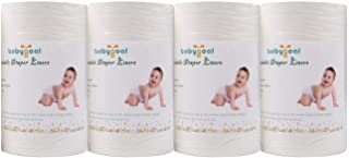 Babygoal Baby Cloth Diaper Liners 4 Pack, Flushable Biodegradable Viscose Bamboo Liners for Cloth Diaper Nappy (400 Sheet...