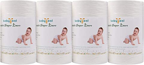 Babygoal Baby Cloth Diaper Liners 4 Pack, Flushable Biodegradable Viscose Bamboo Liners for Cloth Diaper Nappy (400 Sheets...