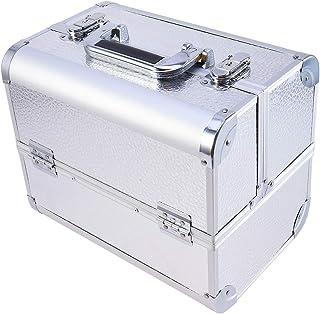 LIOOBO Vosarea Aluminum Cosmetic Box Professional Makeup Case for Travel (Silver)