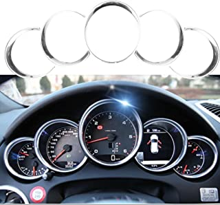 Xotic Tech 5pcs ABS Anodized Dashboard Meter Ring Instrument Frame Trim Covers for Porsche Cayenne 958 2011-2018 Panamera 976 2010-2016 Porsche 911 991 2013-2018 Silver