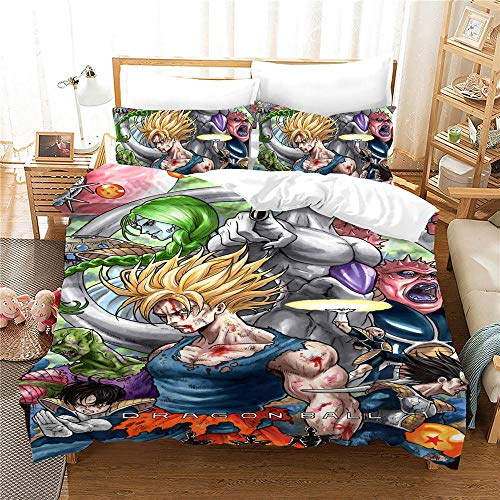 Qingxsm Duvet Cover Double Bed Dragon Ball Bedding 3-piece set, 1 Microfiber 200 x 200 cm Quilt Cover and 2 Pillowcases 50 x 75 cm with Zipper Closure printing Duvet Cover set