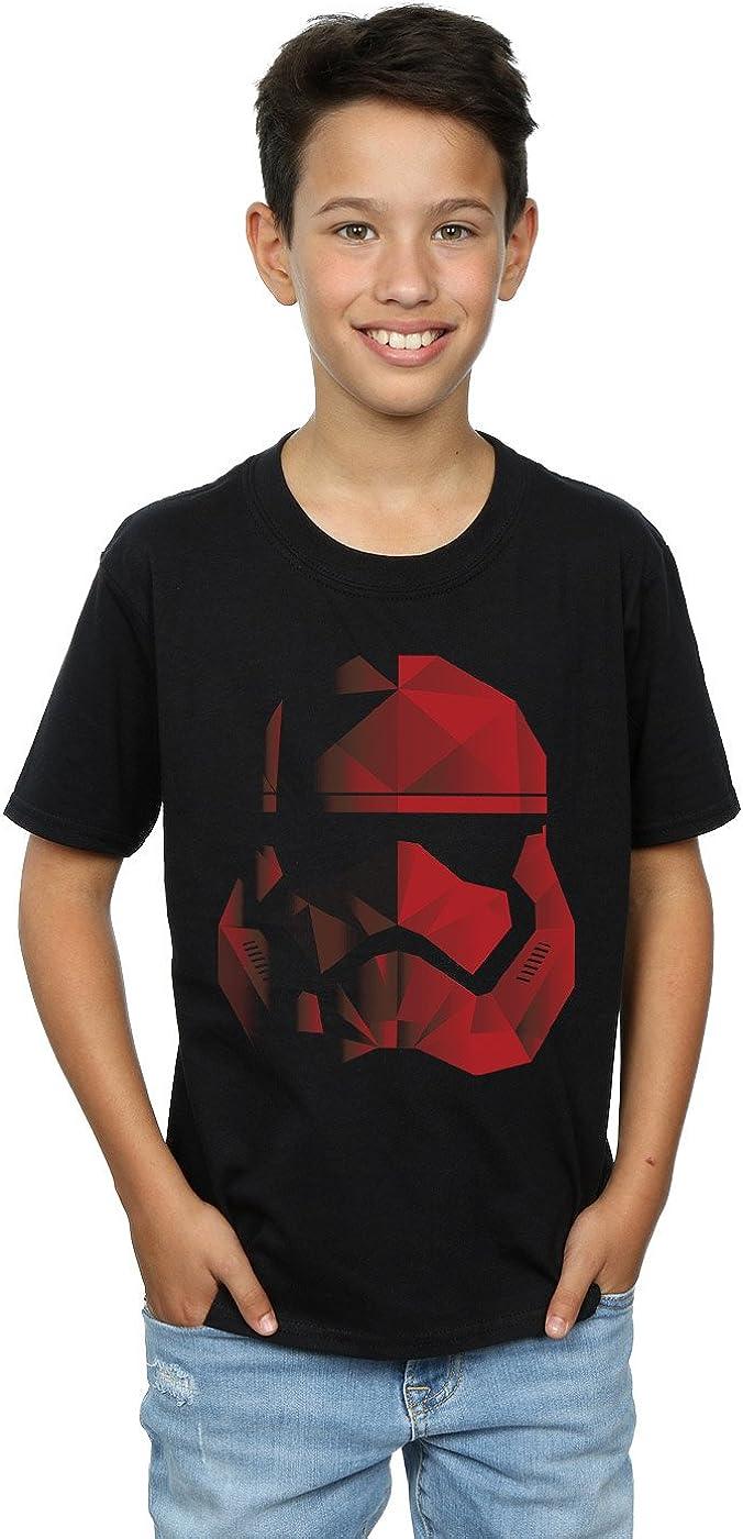 STAR WARS Boys The Last Jedi Stormtrooper Red Cubist Helmet T-Shirt 5-6 Years Black