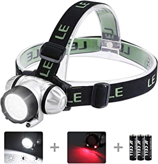 LE LED Headlamp Flashlight, Headlight with Red Light, Water Resistance, Adjustable for Kids and Adults, Perfect Head Light for Running, Hiking, Reading, Camping, Outdoor and More, Batteries Included