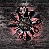 CXM WLONG 'ART Salón de Belleza Reloj de Pared Barbería Creativo Vintage Disco de Vinilo Reloj de Pared Corte de Pelo Decoración Reloj Peluquería Regalo con luz Nocturna LED