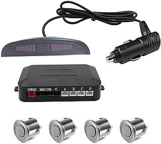 Wireless Car Reverse Backup Radar System, Wireless LED Parking Sensor, Car Reverse Radar System with 4 Sensors Parking Assistant Alarm Buzzer Reminder