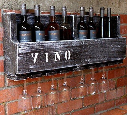 Dekorie Botellero de madera para la pared, con soporte para vasos con texto Vino, marrón, ya montado, estante para botellas de vino y copas de vino