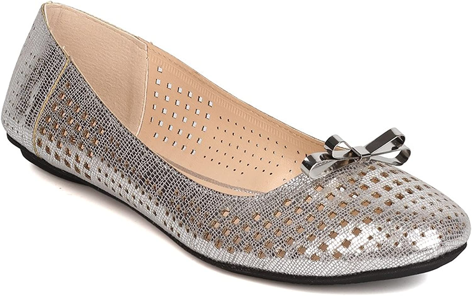 Qupid Women Metallic Leatherette Perforated Bow Tie Ballet Flat FI21 - Silver