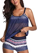 $21 » Women's Plus Size Two Piece Tankini Set Floral Push-Up Padded Bra Swimwear with Bodysuits Drawtring Modest Swimsuit