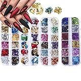 Paillettes per Unghie,4 Scatole Nail Paillette,Lamine per Unghie Decorazioni,Chip di Lamina Glitterata,per lo Styling di Accessori Fai-da-te per Nail Art(48 Colori)