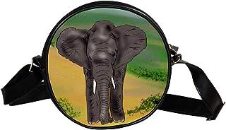 Coosun Umhängetasche mit Elefantenmotiv, Afrika-Zoo, runde Umhängetasche für Kinder und Damen