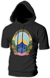 X-JUSEN Men's Coat of Arms of Former Yugoslav Republic of Macedonia National Emblem Short Sleeve Hoodies Hooded Sweatshirt Costumes Kit