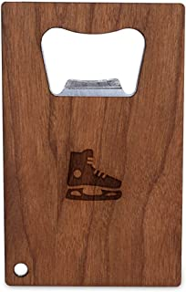 WOODEN ACCESSORIES COMPANY Credit Card Sized Bottle Opener With Laser Engraved Hockey Skate Design- Stainless Steel Bottle Opener With Wooden Front Panel - Slim And Wallet Size