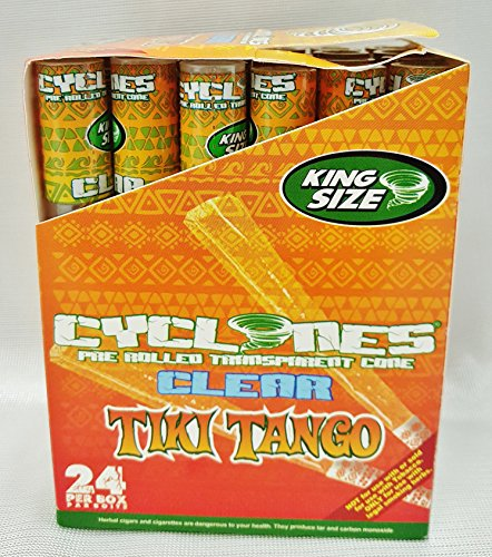 Box 24 Cyclones TIKI TANGO King Size Flavored Pre Rolled Cones Reusable Wood Tip