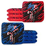 Play Platoon Tournament Series Cornhole Bags - Pro Style Dual Sided Slick and Sticky Side Bags - Designed in USA - 4 Red & 4 Blue American Flag Skulls