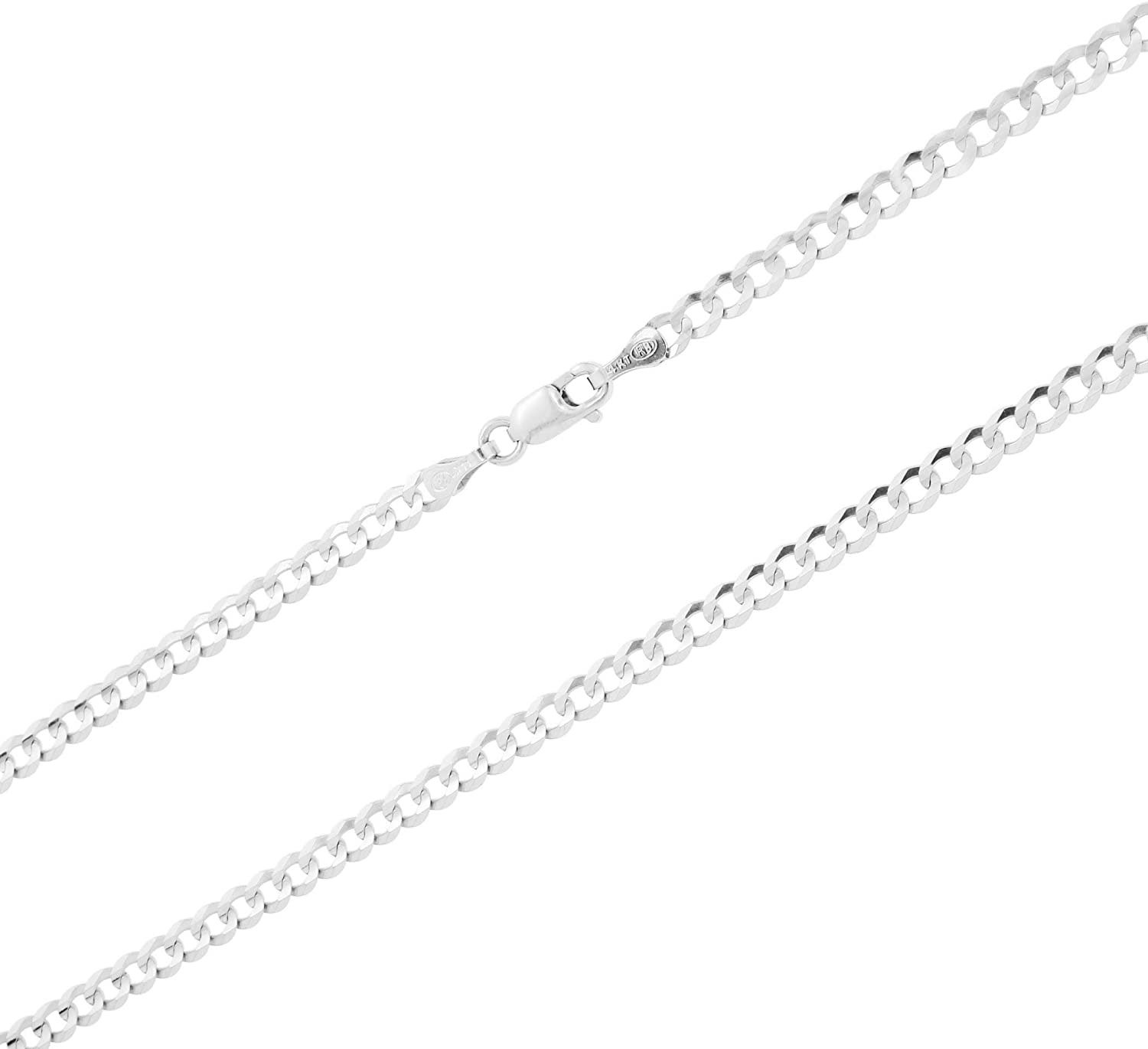 Nuragold 14k White Gold 3mm Solid Cuban Link Chain Curb Pendant Necklace, Mens Womens Lobster Lock 16