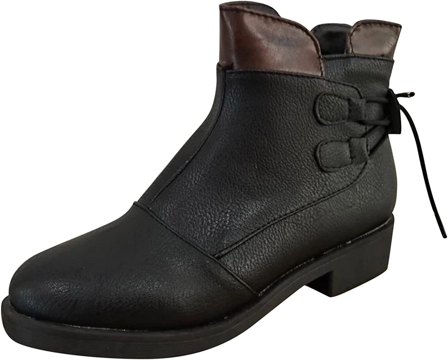 Ankle Boots for Women Solid Color Square Heels Side Zipper Round Toe Short Booties
