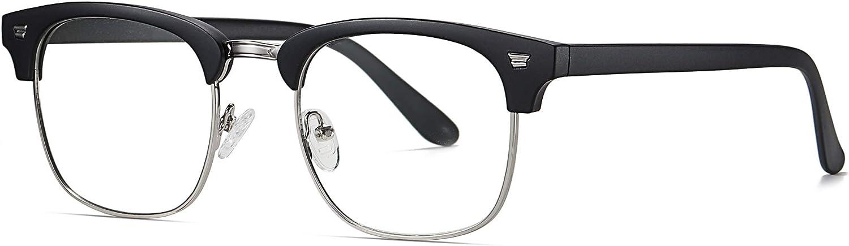 SKILEC Gafas Anti Luz Azul Gafas Ordenador Gafas Lectura Hombre Mujer con Marco de Metal Filtro Protección Azul UV Gafas Presbicia Hombre para PC, Gaming, TV Tablet Lentes Transparentes (Negro Gris)