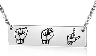 ENSIANTH ASL Necklace Sign Language Interpreter Gift Bar Necklace for Deaf