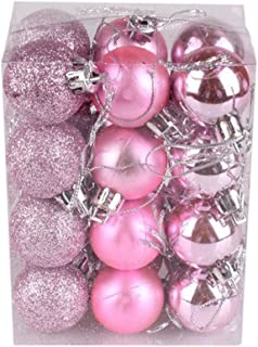 Libobo 30mm Christmas Xmas Tree Ball Bauble Hanging Home Party Ornament Decor (Pink)