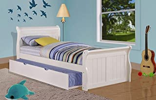 Donco Kids Sleigh withTrundle Bed, Twin/Twin, White