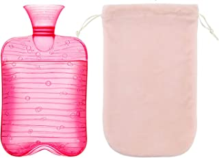 Hot Water Bottle with Cover 60 oz, Durable Ice Packs for Injuries with Natural Rubber BPA Free, Portable Hand Warmer as Ic...