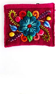 Hand-embroidered coin purse