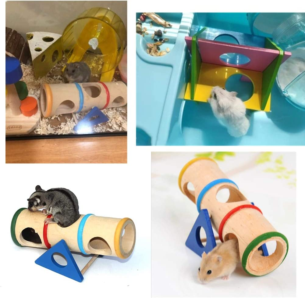 Hamster Wooden Seesaw Tunnel Toy Funny Gym Exercise House Grinding Teeth with Play Platform for Dwarf Hamster Small Pets Seesaw Tunnel