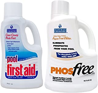 Natural Chemistry 05121-122 PHOSFree Eliminates Phosphates in Swimming Pools, 3-Liter and Pool First Aid Clears Cloudy Swimming Pool Water, 2-Liter