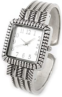 Silver Metal Western Style Decorated Square Face Women's Bangle Cuff Watch