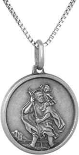Sterling Silver St Christopher Medal Necklace 3/4 inch Round Antiqued Finish Italy 0.8mm Chain