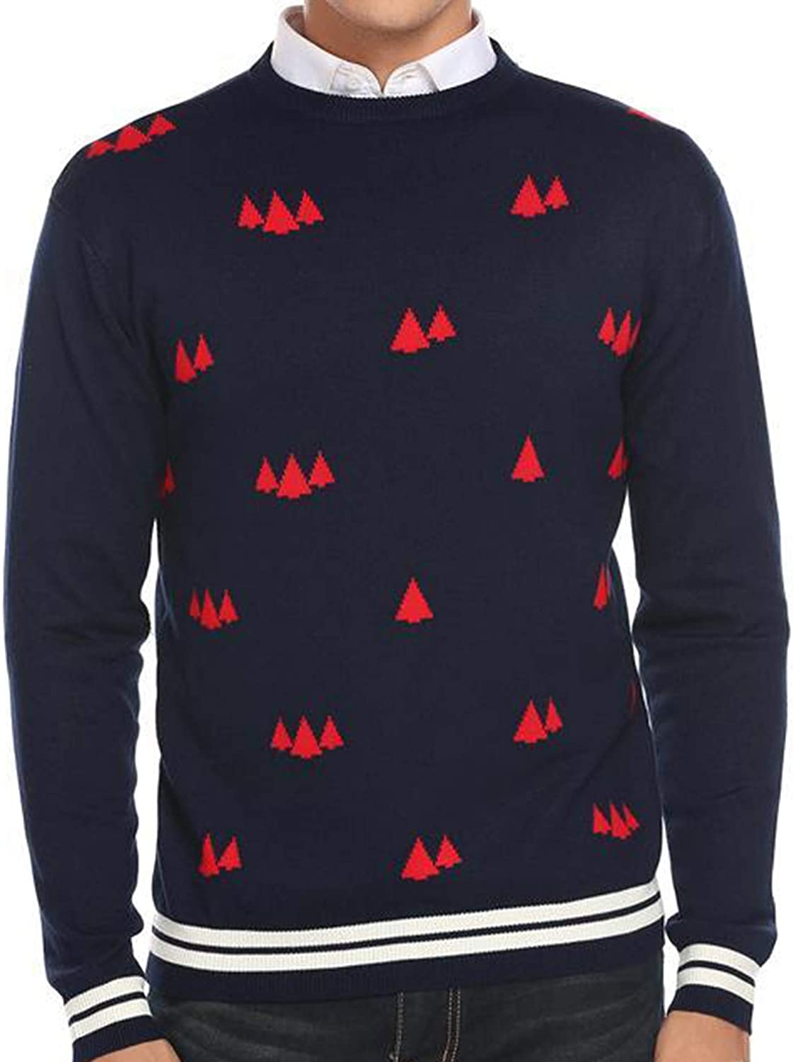 COOFANDY Men's Ugly Christmas Sweaters Knitted Long Sleeve Crewneck Pullovers (Navy Blue, XX-Large)