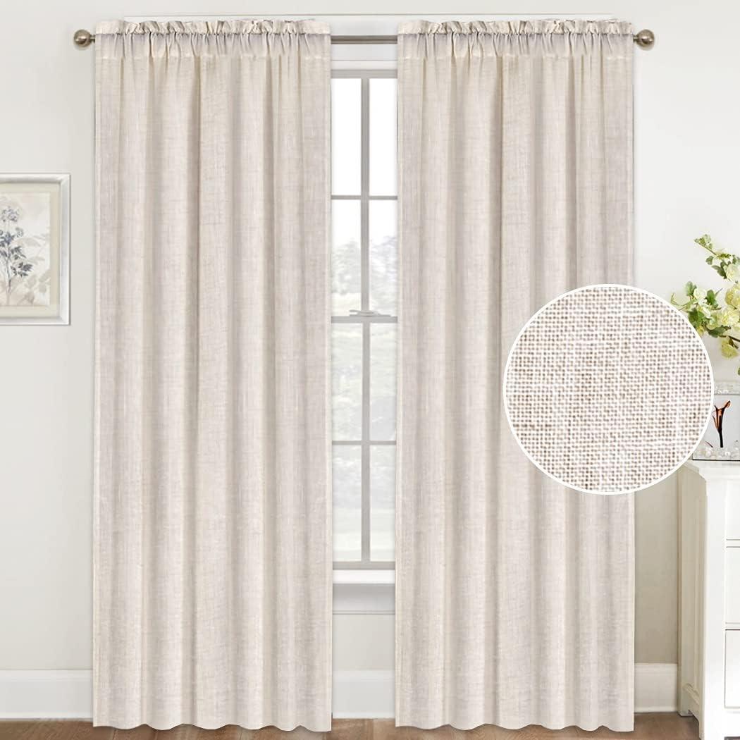 Natural Linen Charlotte Mall Curtains 84 Inches Long Curt Max 84% OFF Rod Pocket Sheer Semi
