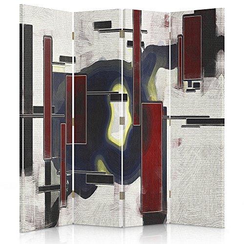 Feeby Frames. Roomdivider, gedrukt op canvas, canvas, wandscherm, decoratieve scheidingswand, paravent aan beide zijden, 3 of 4 stuks, 360° afstrijking, vlekken, licht, rechthoekig, rood, blauw, wit 2-seitiger 145x180 cm
