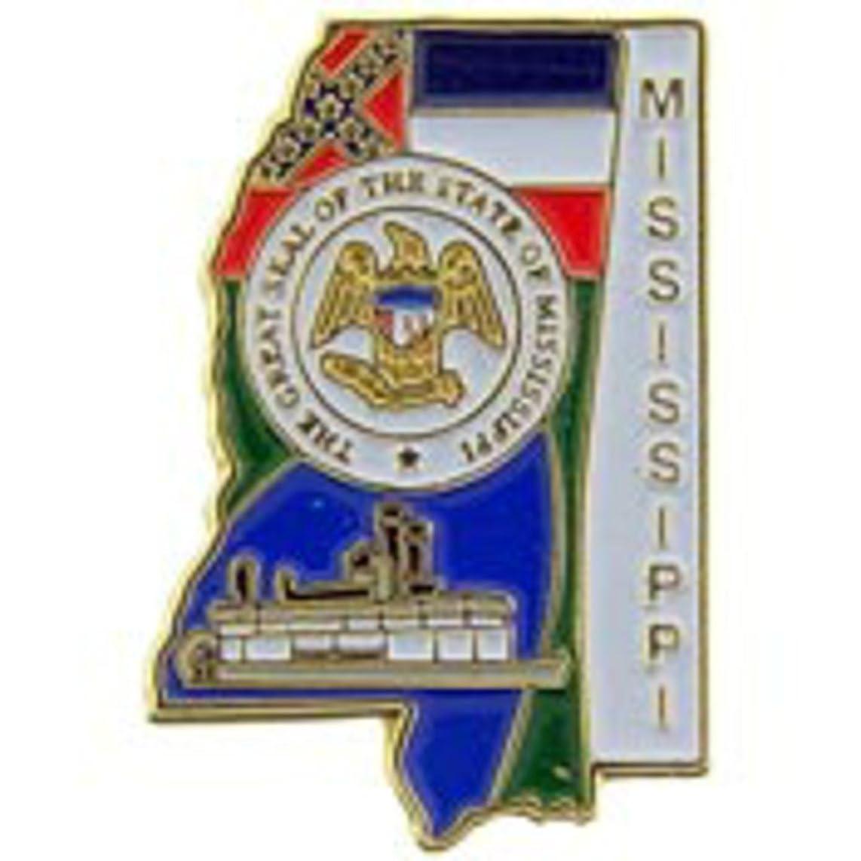 EagleEmblems P09225 PIN-Mississippi (MAP) (1'')
