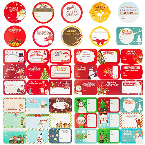 HongyiTime 144-Count Christmas Tags Sticker,36 Jumbo Designs - Xmas to from Christmas Stickers Name Tags Write On Labels - Holiday Present Label