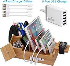 Bamboo Charging Station for Multiple Devices with 5 Port USB Charger, 4 Charger Cables and Apple Watch Stand. Wood Desktop Docking Stations Organizer for Cell Phone, Tablet, Watch, Office Accessories