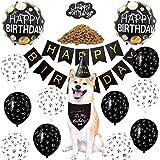 Happyhours - Set de decoración de cumpleaños para perros, pañuelo y sombrero, decoración para tartas, perros, cumpleaños, guirnalda con huellas de patas, globos de látex