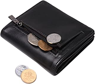 Women Credit Card Holder Genuine Leather Small Wallet RFID Credit Card Case with Coin Pocket