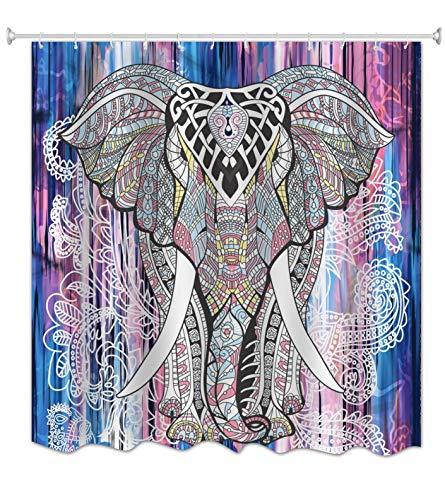 A.Monamour Mandala India del Hippie Tribal del Elefante Tribuna del Tatuaje Impresión Tela Temática Animal Poliester Cortina De Ducha Moldeable para Las Decoraciones del Cuarto De Baño 180x200 cm